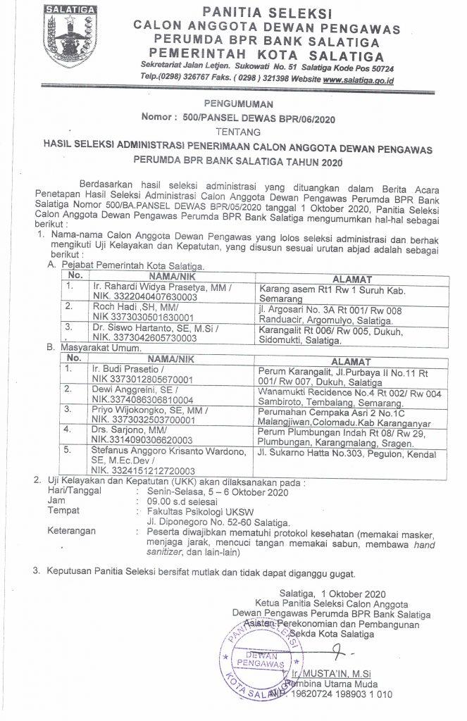 Hasil Seleksi Administrasi Penerimaan Calon Anggota Dewan Pengawas Perumda BPR Bank Salatiga Tahun 2020