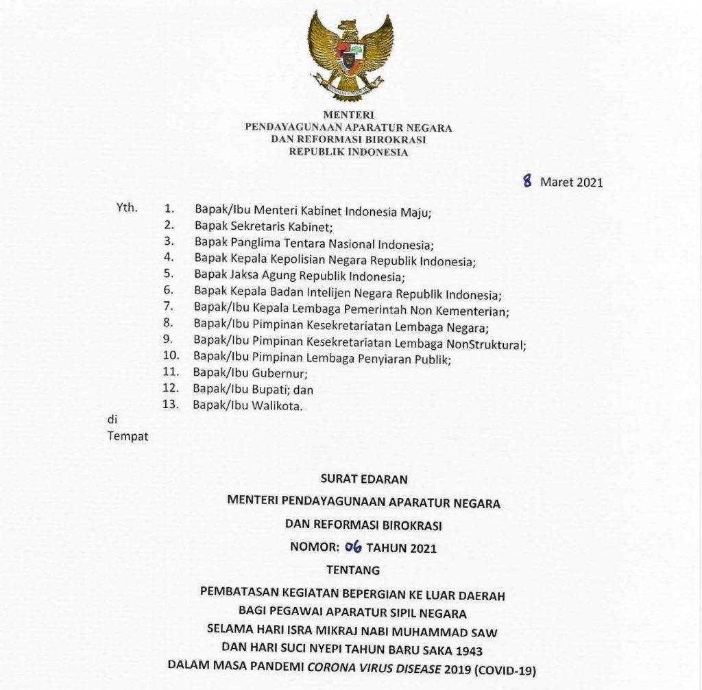 ASN Dilarang Bepergian Ke Luar Daerah Saat Libur Isra Mikraj dan Nyepi 2021